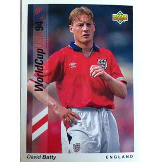 David Batty (England) - Soccer Football Card #160 - 1993 Upper Deck World Cup USA '94 Preview Contenders