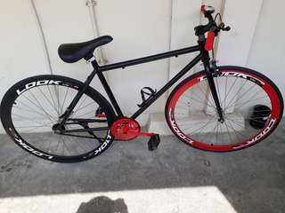 Coastal break fixie with bottle holder, front brakes and stand