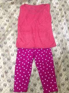 Pink terno - lace shirt, polka dot leggings