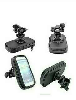 Phone holder for motor bike and bike. Rain proof