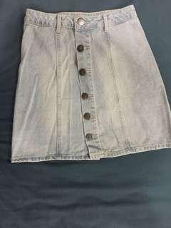 Faded light denim button up A-line skirt
