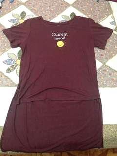 Crissa Maroon Long Tail T-Shirt