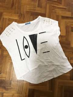 "Whatever white ""love"" top"