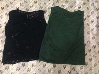 Green and black lace tops 2 for 1