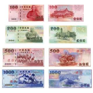 Taiwan Dollars currency ( NT$ TWD Taipei ximending )