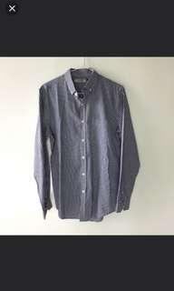 TOPMAN Navy blue and White Checkered Shirt