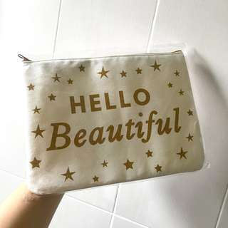 Hello Beautiful Canvas Travel/Makeup Bag