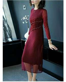 🚚 蕾絲皺褶連衣裙洋裝