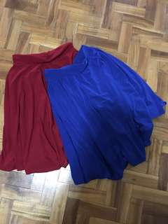 Below the knee skater skirt (red & blue)