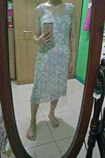 Floral beige midi dress