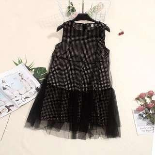 🚚 韓版氣質娃娃裝網紗連身裙無袖洋裝
