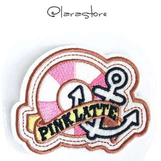 Pink latte anchor Iron On Patch