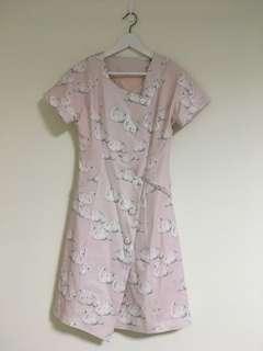 🚚 日系復古天鵝滿印 方領短袖洋裝 連衣裙 babypink