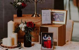 Wedding reception and photo corner styling