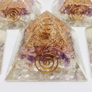 Amethyst + Rose & Clear Quartz Orgone Pyramid