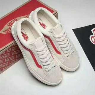 萬斯 VANS 白紅 白黑情侶款帆布鞋 35-45