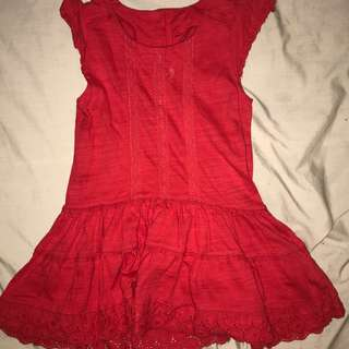 Mothercare red cotton knit dress size 3