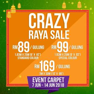 CRAZY RAYA SALE-PERFECT EVENT CARPET SOLUTIONS AT CHEAPEST PRICE!