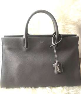 Saint Laurent Sac Cab Riv Gauc Grey Grained Leather and Suede