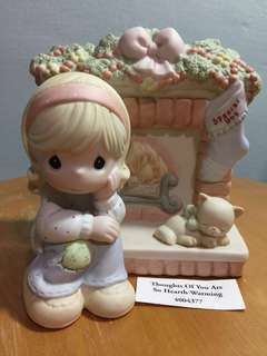 Buy 3 Get 1 Free : Precious Moments Girl sitting by fireplace figurine : Thoughts of you are so Hearth Warming