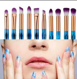 10pcs Make Up Brush set Eye Brush Cosmetic Colorfull Beauty Tools