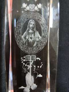 Jesus lazer art glass display
