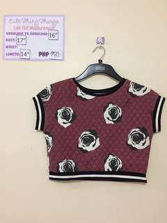 Old Rose and Black Quilted Crop Top