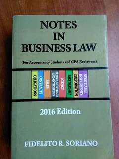 Notes in bus law 2016 ed