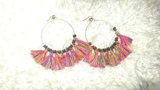 Elegant colorful tassels dangling earrings