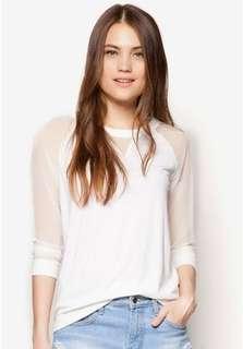 Zalora white top with mesh sleeves