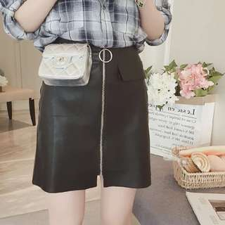 READY STOCK plus size Korea style zipper PU skirt
