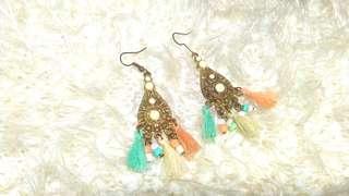 Fashionable blue pink tassel danglings or earrings