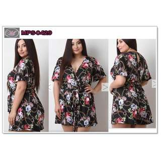 CODE: MPS-0429 Plus Size Floral Jumpshort