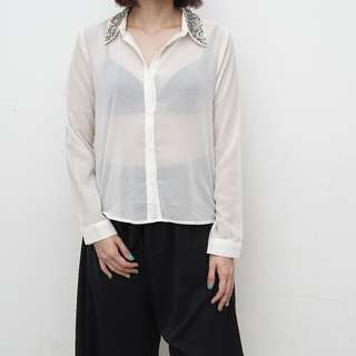 Better B. - White Blouse with Sequin Collar Detail - Size S