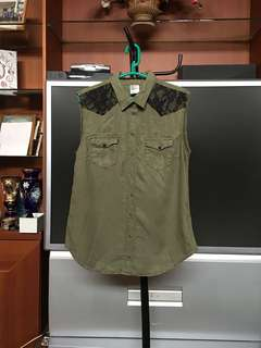 H&M Green Army Lace Denim Top