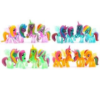 4pcs Unicorn Pony Kids Toys ( Transparent Pink )