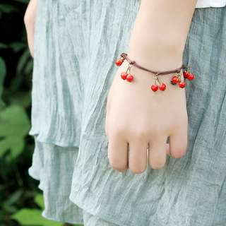 NEW Handmade Ceramic Cherry Bracelet