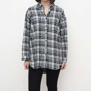 Bless - Checkered Oversized Shirt - Black - Free Size