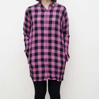 Purple Black Checkered Oversized Shirt with Pockets - Size M