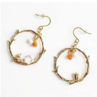 【現貨】森林系小松鼠椹果耳鉤耳夾式耳環