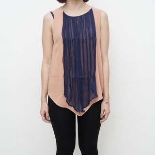 Bloom Apparels - Beige Tank with Multi Scarf - Free Size