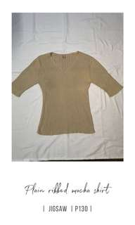 Plain ribbed mocha top