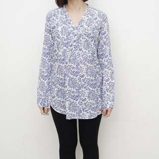 ZARA Collection - Blue Floral Patterned Oversized Top - Size M