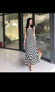 2018 new summer fashion elegant temperament large loose striped strap dress girl