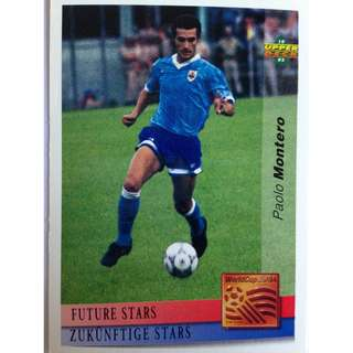 Paolo Montero (Uruguay) - Soccer Football Card #140 (Future Stars) - 1993 Upper Deck World Cup USA '94 Preview Contenders