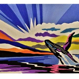 Whale & Horizon Painting (90cm × 70cm)