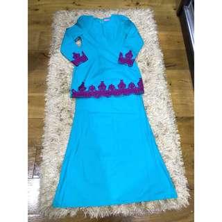 RAYA SALE💖 Kurung Modern Turqoise Blue with Lace