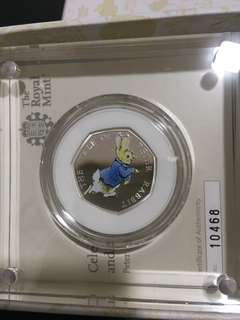 Royal mint Petter rabbit 50p silver coin