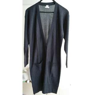 HERMES Dark Grey Cashmere Long Cardigan