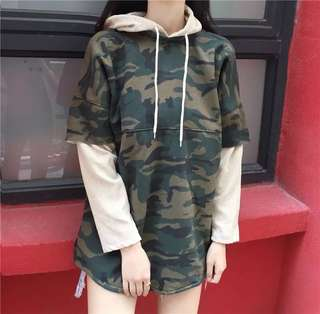 Camo Army Green Oversized Pullover Hoodie